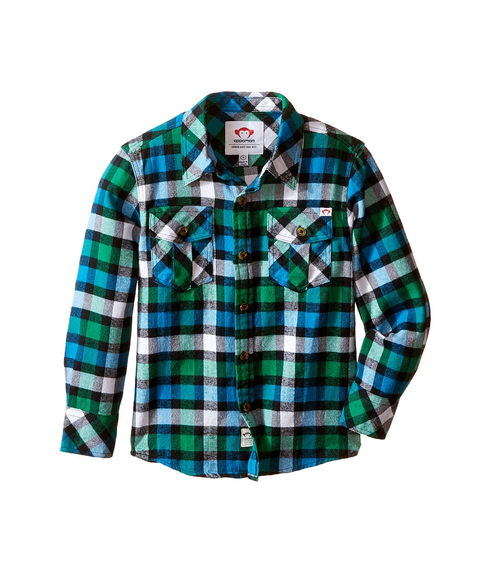 Appaman Kids - Flannel Shirt (Toddler/Little Kids/Big Kids) (Online Green Plaid) Boy's Clothing