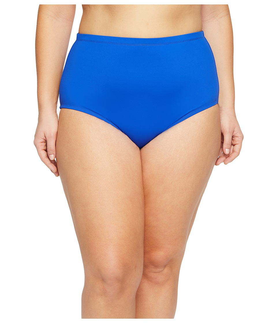 La Blanca Plus Size Island Goddess Solid Hipster (Sapphire) Women