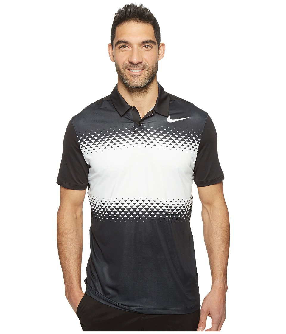 Nike Golf - Tiger Woods Mobility Majors Polo (Black/White/White) Men's Short Sleeve Pullover