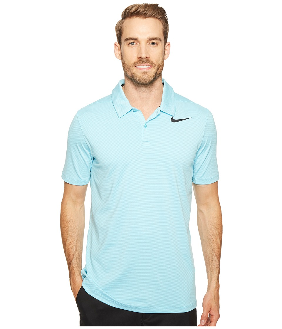 Nike Golf - Mobility Control Stripe Polo (Vivid Sky/Black) Men's Short Sleeve Pullover