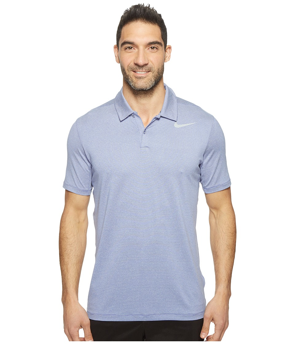 Nike Golf - Mobility Control Stripe Polo (Deep Night/Flat Silver) Men's Short Sleeve Pullover