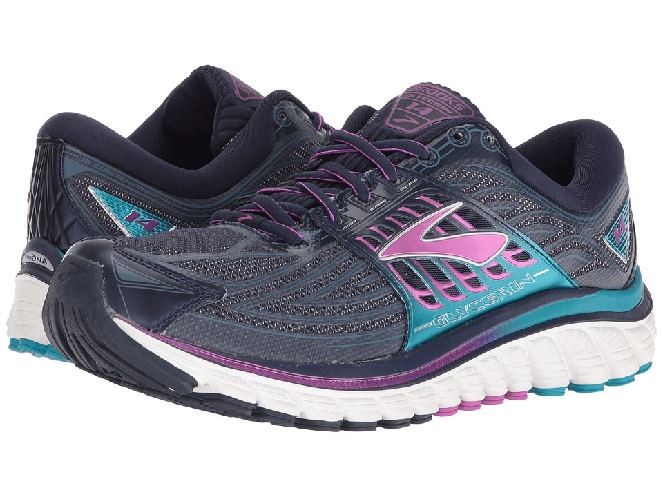 Brooks - Glycerin 14 (Peacoat Navy/Purple Cactus Flower/Capri Breeze) Women's Running Shoes