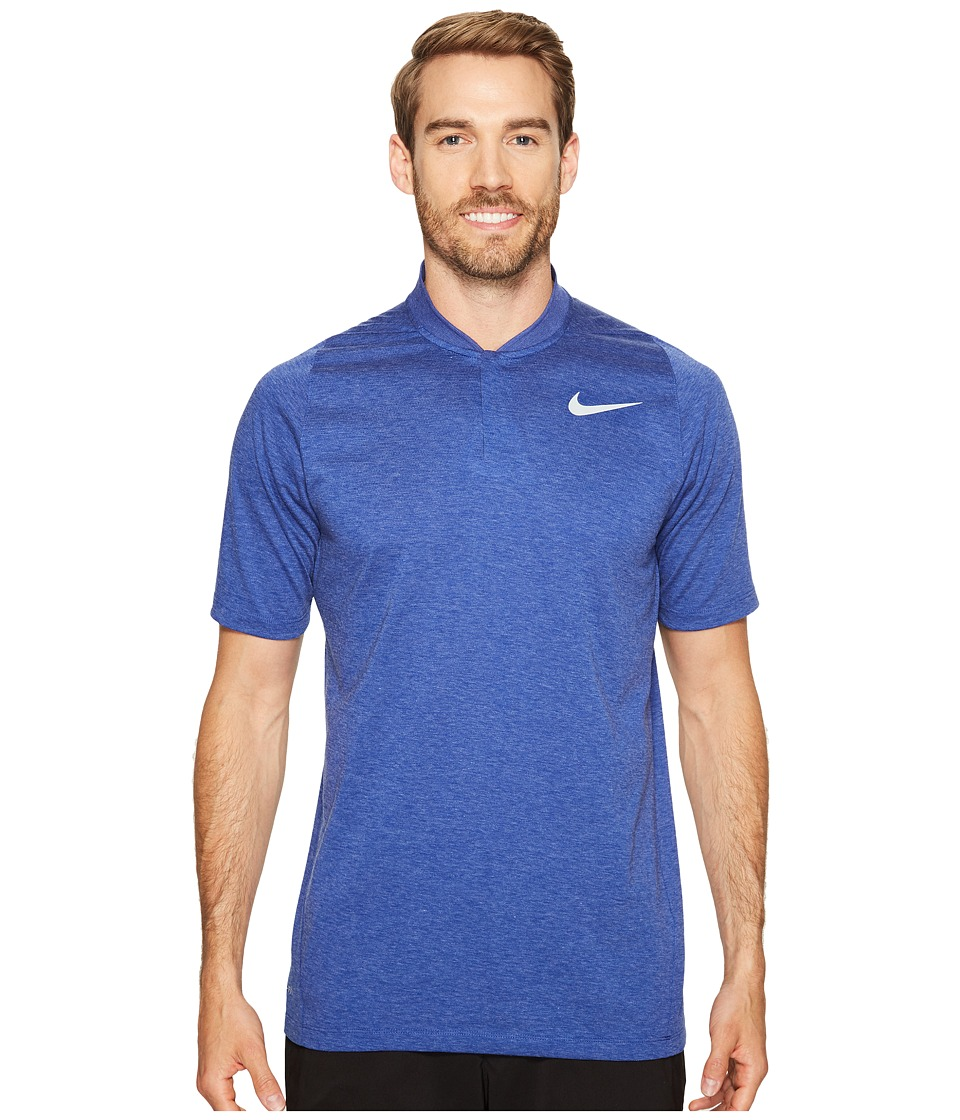 Nike Golf - Tiger Woods Velocity Max Dri-Fit Cotton Blade (Deep Royal Heather/Wolf Grey) Men's Short Sleeve Pullover