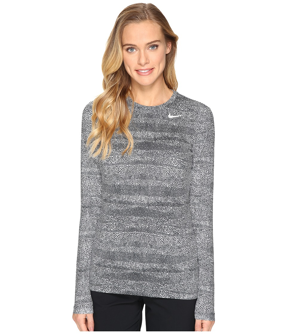 Nike Golf UV Crew Base Layer (Black/White/Metallic Silver) Women