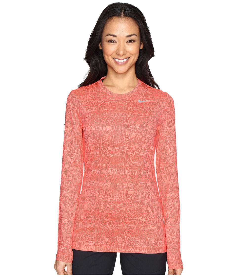 Nike Golf - UV Crew Base Layer (Max Orange/Lava Glow/Metallic Silver) Women's Long Sleeve Pullover