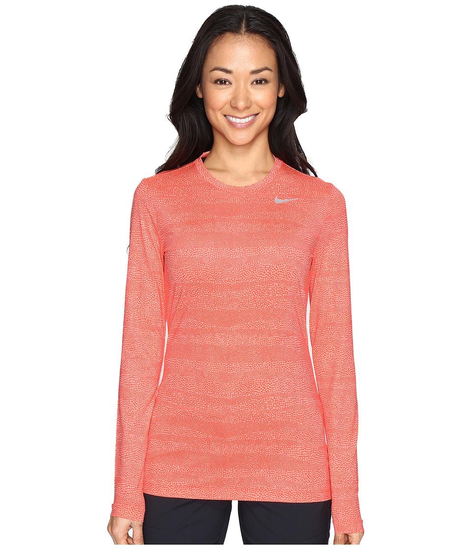 Nike Golf - UV Crew Base Layer (Max Orange/Lava Glow/Metallic Silver) Women's Long Sleeve Pullover