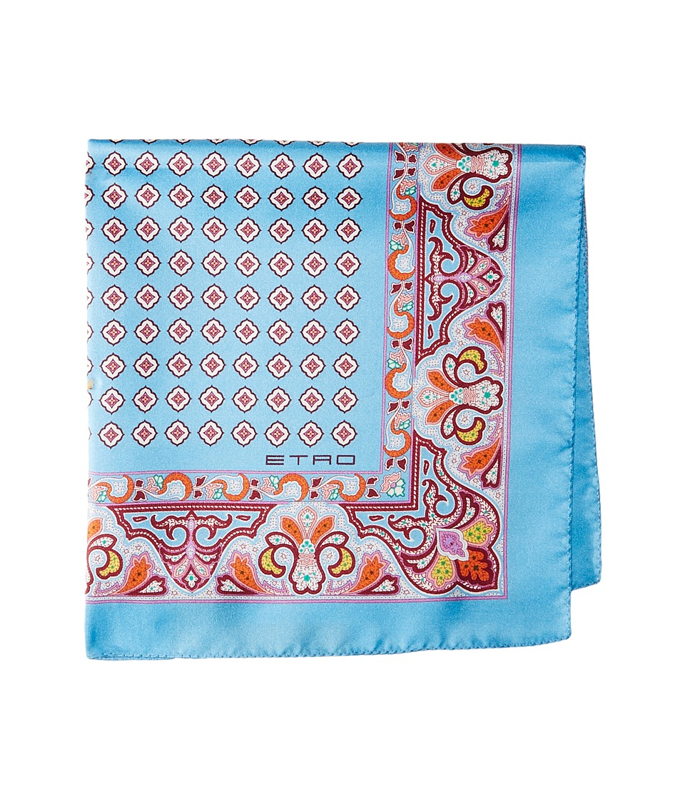 Etro - Geometric and Paisley Print Pocket Square (Blue) Ties