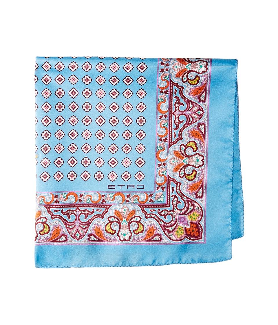 Etro - Geometric and Paisley Print Pocket Square (Blue) Ties