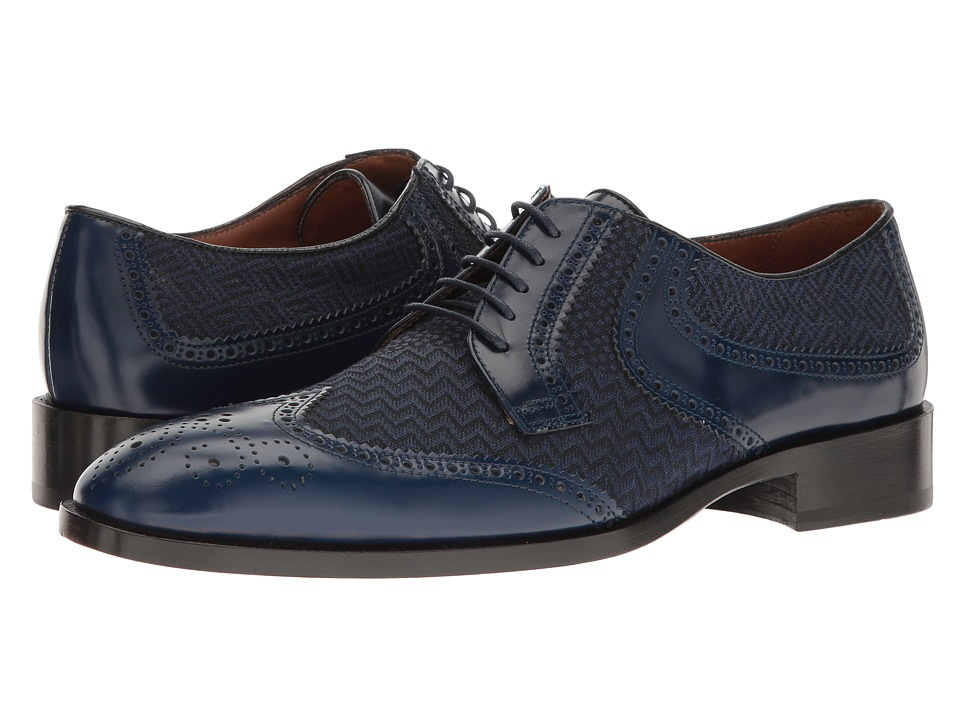 Etro - Wingtip Blucher (Blue) Men's Lace Up Wing Tip Shoes