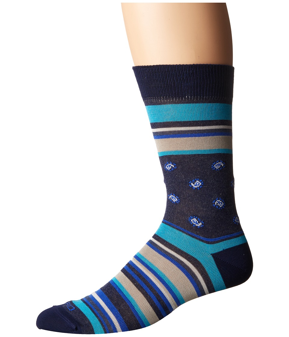 Etro - Bold Striped Socks (Blue) Men's Crew Cut Socks Shoes
