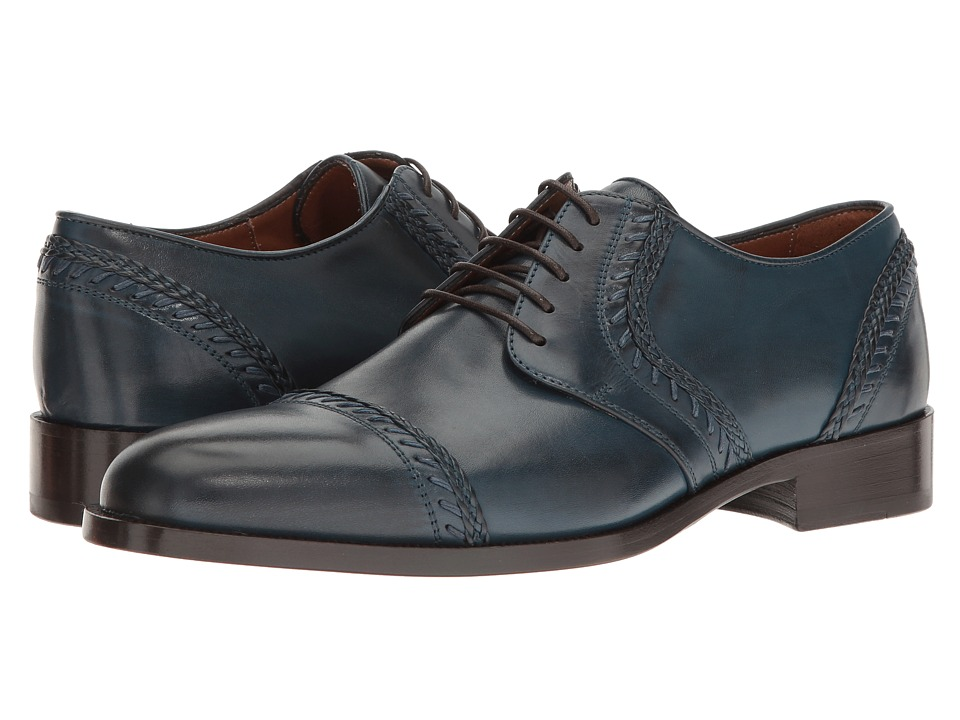 Etro - Whipstitch Cap Toe Blucher (Blue) Men's Lace Up Cap Toe Shoes