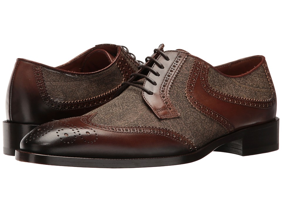 Etro - Wingtip Paisley Blucher (Brown) Men's Lace Up Wing Tip Shoes