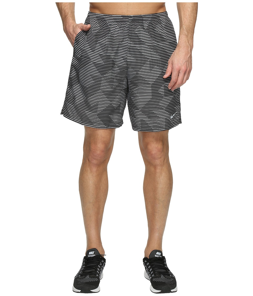 Nike - Dry Challenger 7 Printed Running Short (Black/Black/Reflective Silver) Men's Shorts