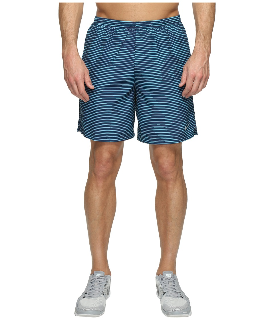 Nike - Dry Challenger 7 Printed Running Short (Binary Blue/Black/Reflective Silver) Men's Shorts