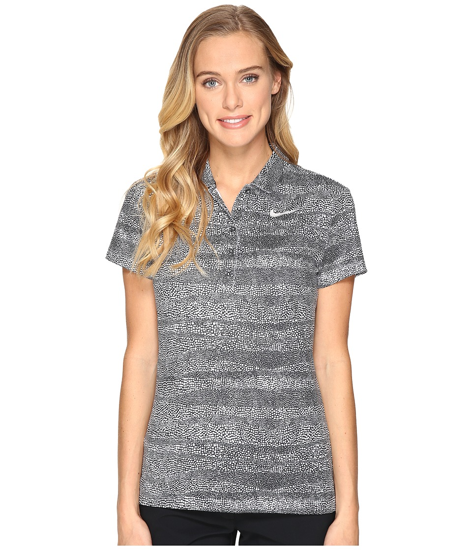 Nike Golf - Precision Zebra Print Polo (Black/White/Metallic Silver) Women's Short Sleeve Pullover