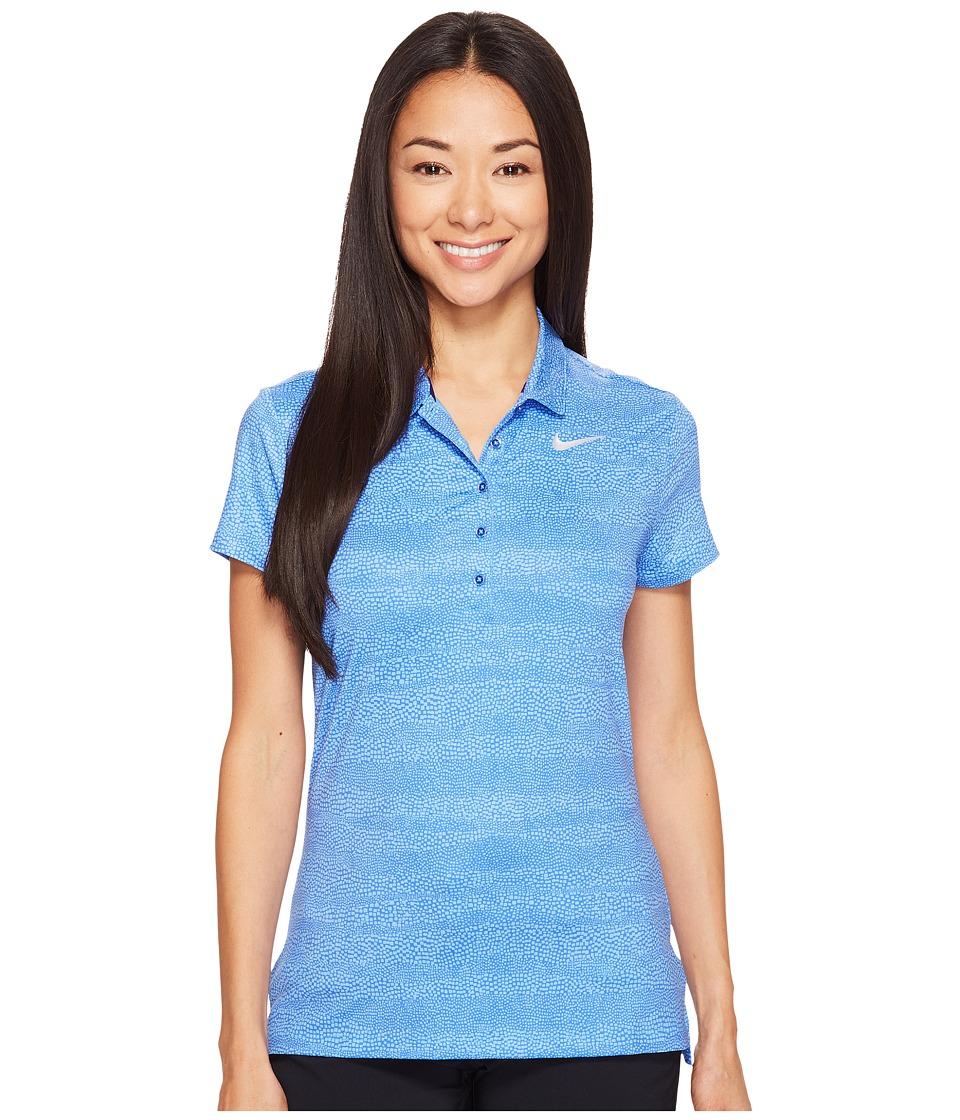 Nike Golf - Precision Zebra Print Polo (Paramount Blue/University Blue/Metallic Silver) Women's Short Sleeve Pullover
