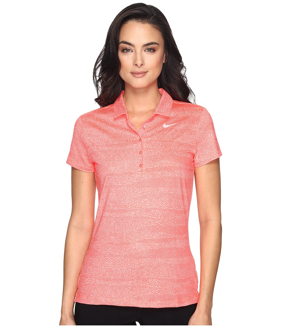 Nike Golf - Precision Zebra Print Polo (Max Orange/Lava Glow/Metallic Silver) Women's Short Sleeve Pullover