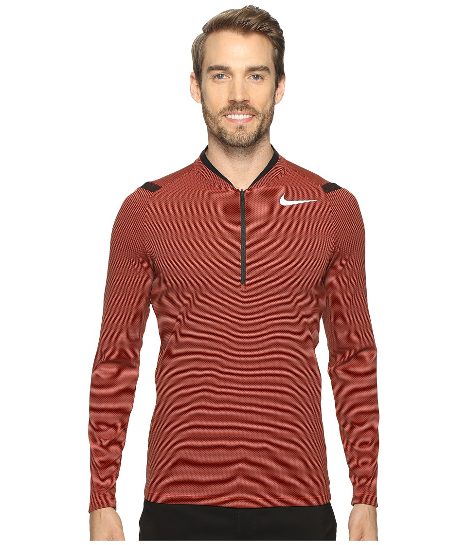 Nike Golf - Aero React 1/2 Zip (Max Orange/Black/Reflective Silver) Men's Long Sleeve Pullover