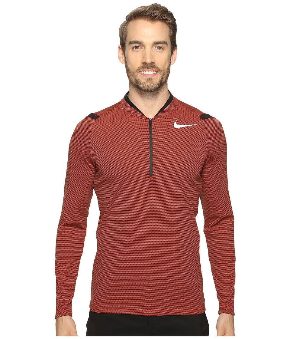 Nike Golf - Aero React 1/2 Zip (Max Orange/Black/Reflective Silver) Men's Long Sleeve Pullover
