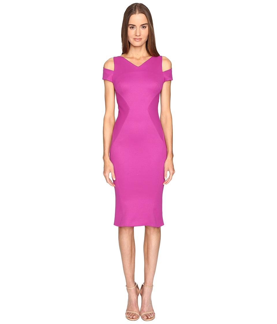 Zac Posen - Bondage Jersey Cold Shoulder Short Sleeve Dress (Magenta) Women's Dress