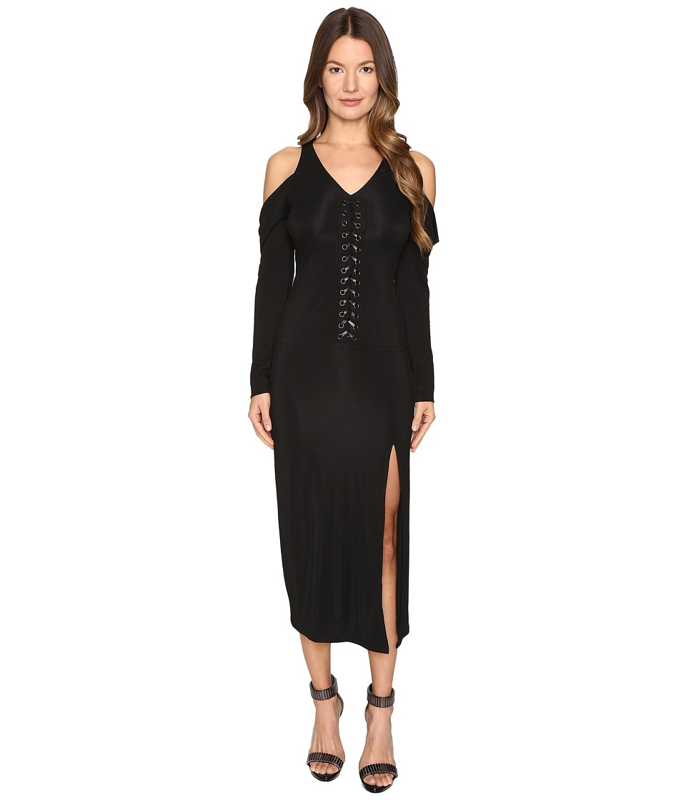 YIGAL AZROUEL - Lacing Detail Matt Jersey Dress (Jet) Women's Dress
