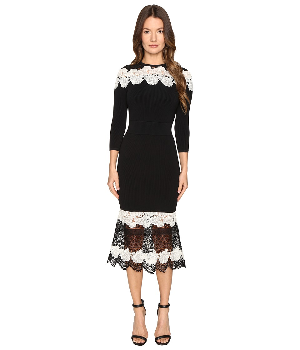 YIGAL AZROUEL Mod Lace Combo Knit Dress (Jet Multi) Women