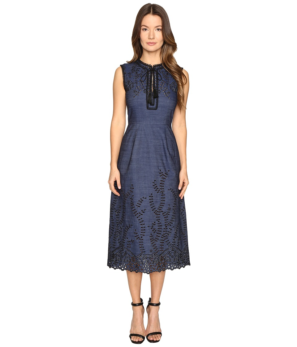 YIGAL AZROUEL - Pom Pom Embroidered Dress (Denim) Women's Dress