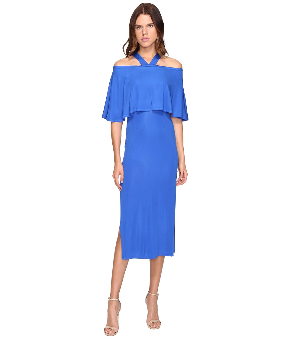 YIGAL AZROUEL Cold Shoulder Matte Jersey Dress (Baja Blue) Women