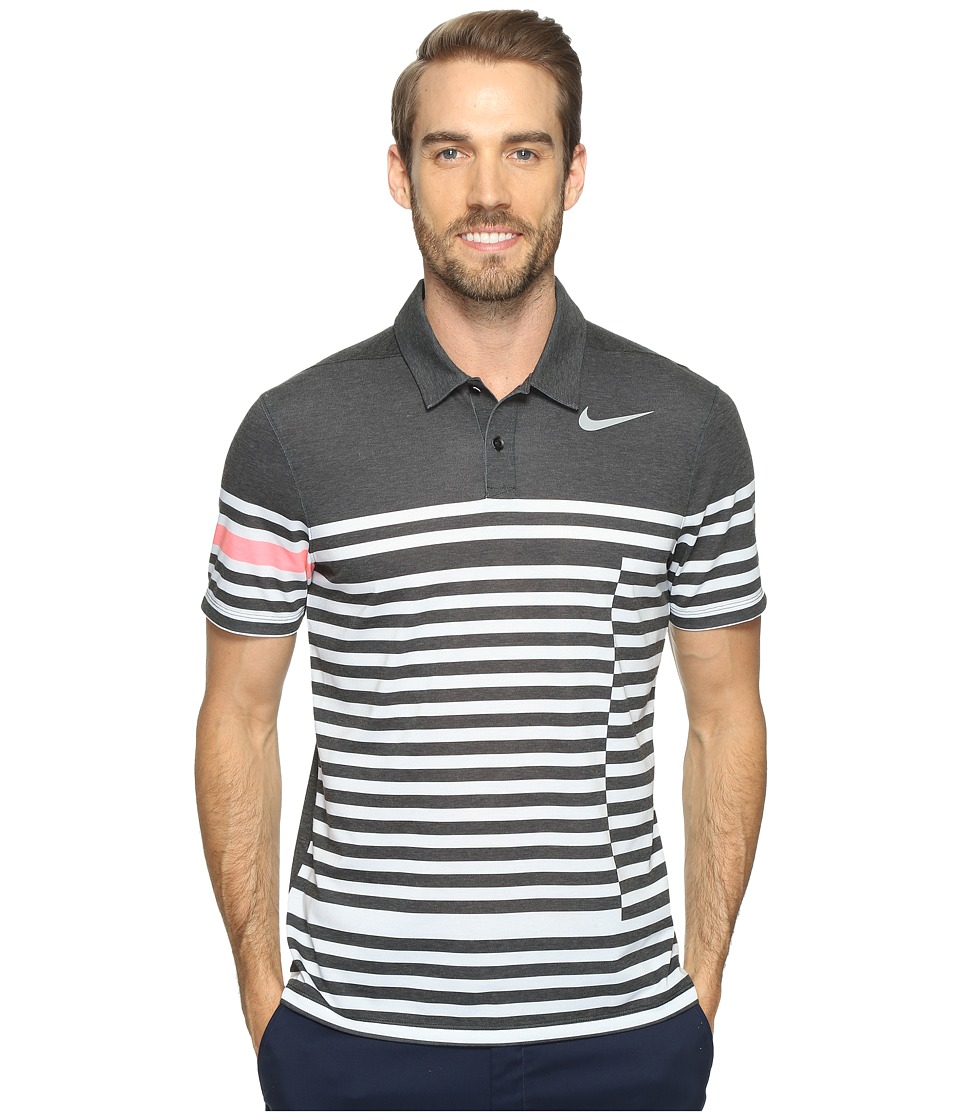 Nike Golf - Modern Fit TR Dry 4/1 Print (Black/Flat Silver) Men's Short Sleeve Pullover