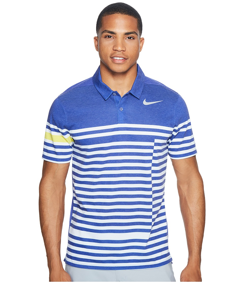 Nike Golf - Modern Fit TR Dry 4/1 Print (Deep Night/Flat Silver) Men's Short Sleeve Pullover