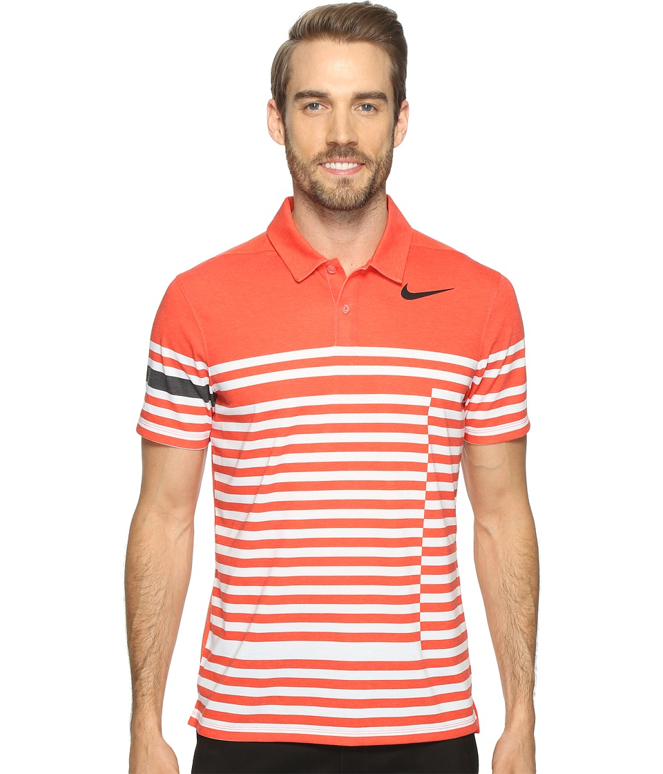 Nike Golf - Modern Fit TR Dry 4/1 Print (Max Orange/Black) Men's Short Sleeve Pullover