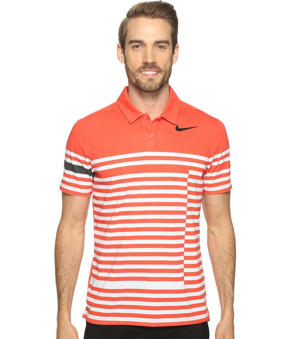 Nike Golf - Modern Fit TR Dry 4/1 Print (Max Orange/Black) Men's Short Sleeve Pullover