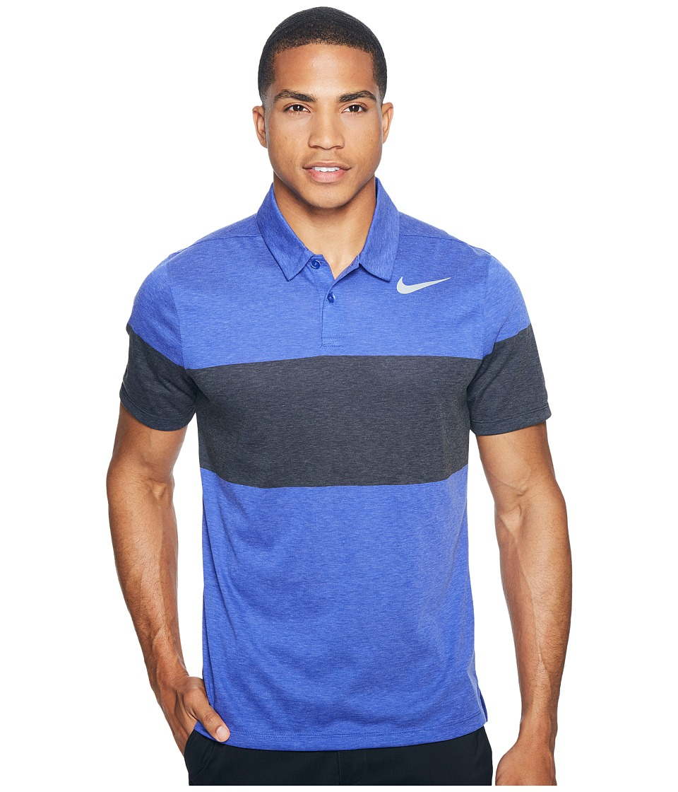 Nike Golf - Modern Fit TR Dry 4/1 Print 2 (Deep Night/Flat Silver) Men's Short Sleeve Pullover