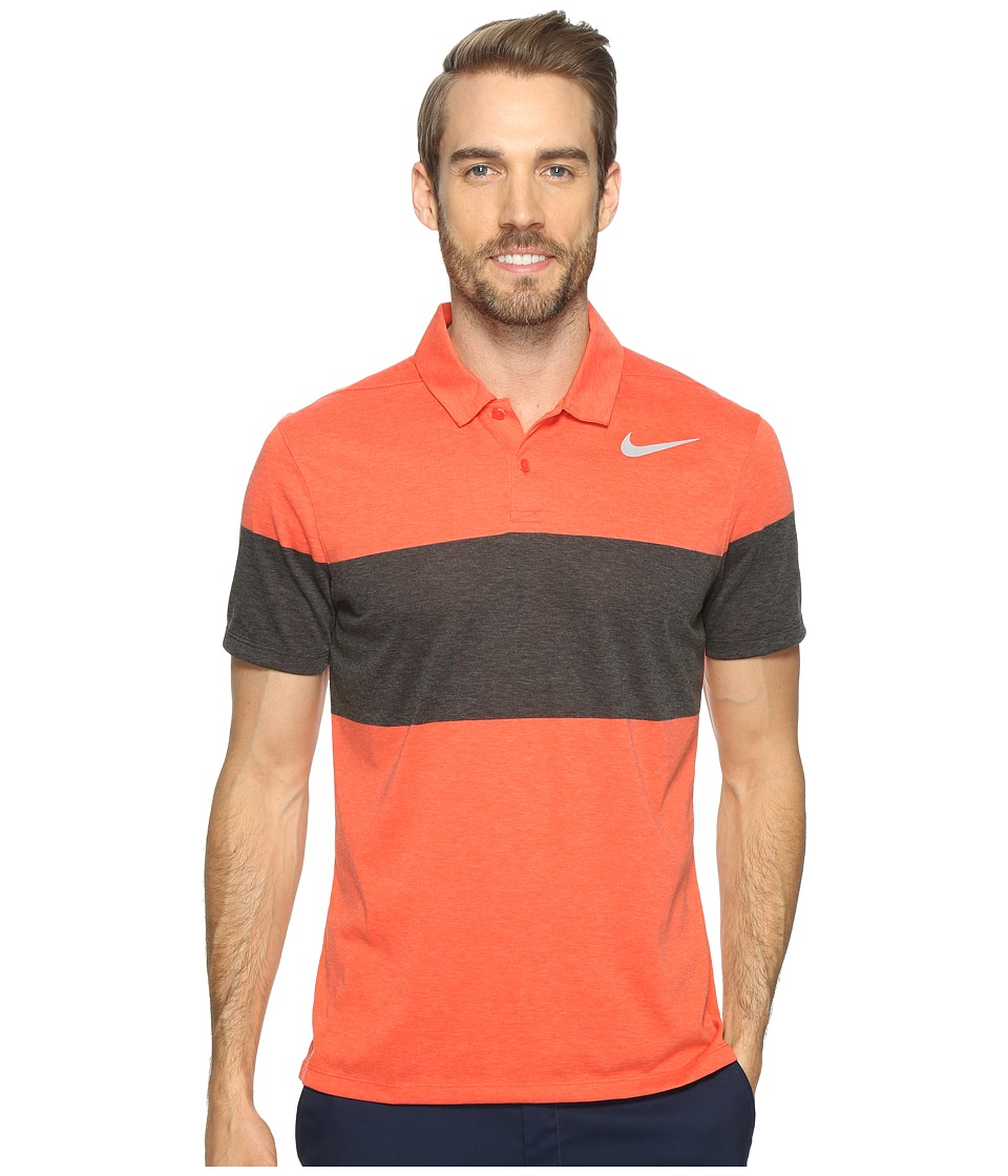 Nike Golf - Modern Fit TR Dry 4/1 Print 2 (Max Orange/Flat Silver) Men's Short Sleeve Pullover
