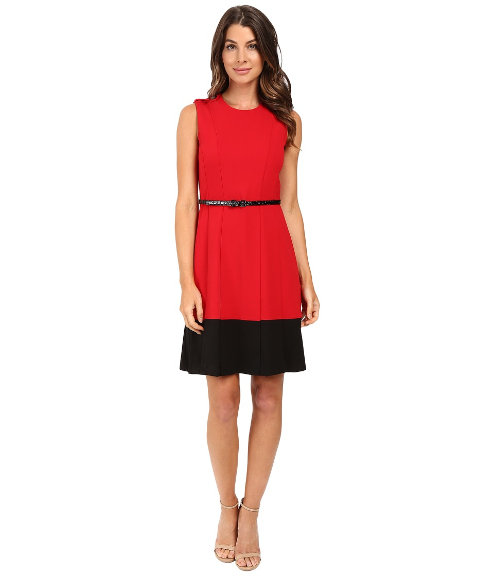 Calvin Klein - Fit Flare Color Block Dress CD5X1441 (Red/Black) Women's Dress