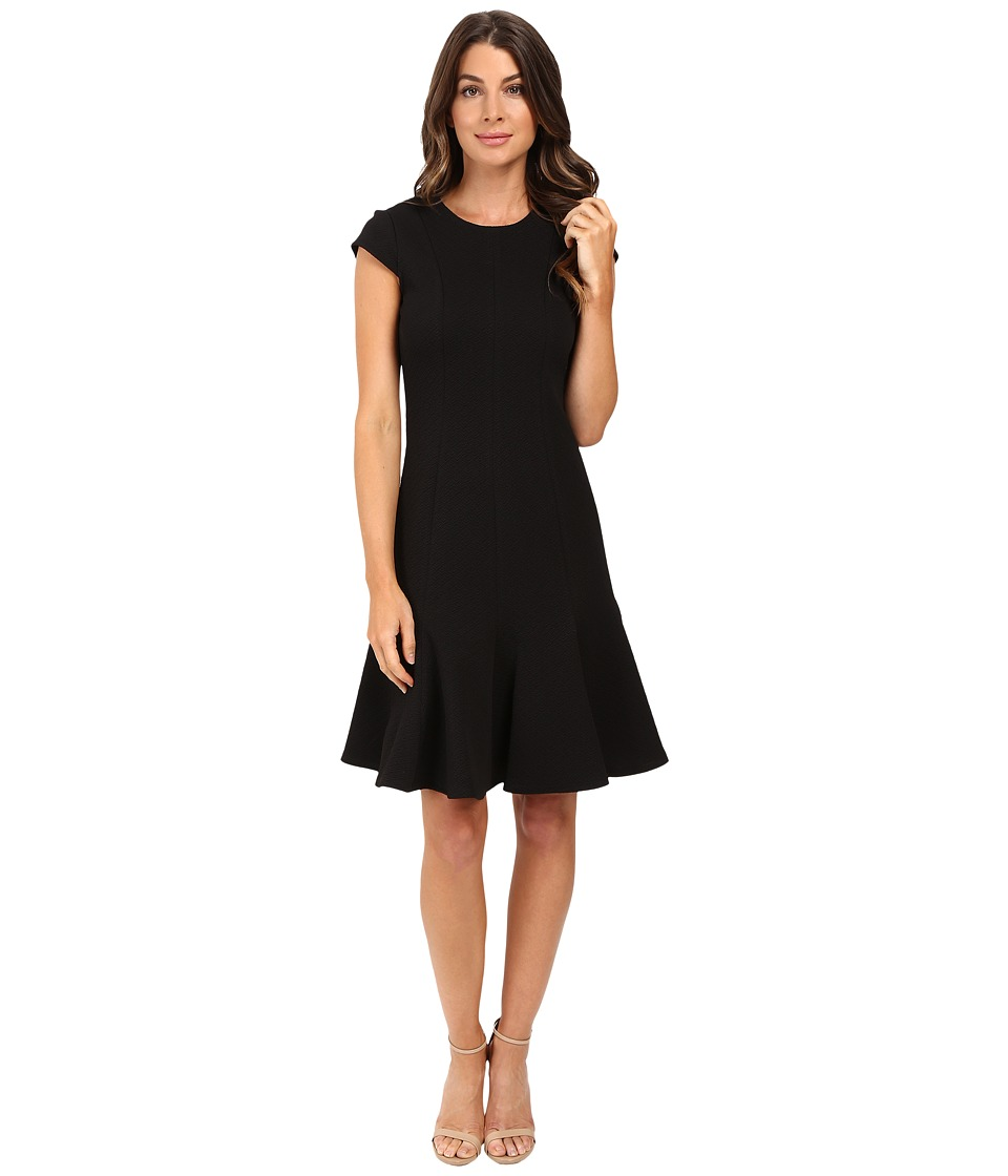 Calvin Klein - Cap Sleeve Fit Flare Dress CD5P2D1M (Black) Women's Dress
