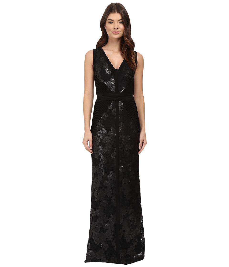 Calvin Klein - V-Neck Jersey Sequin Gown CD6B1X7E (Black) Women's Dress