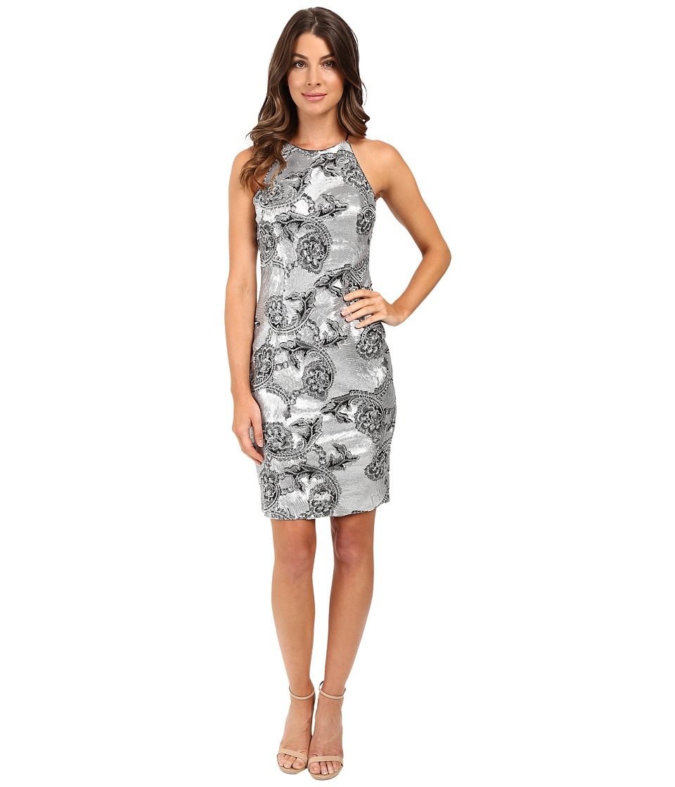 Calvin Klein - Halter Neck Sequin Dress CD6B1013 (Silver) Women's Dress