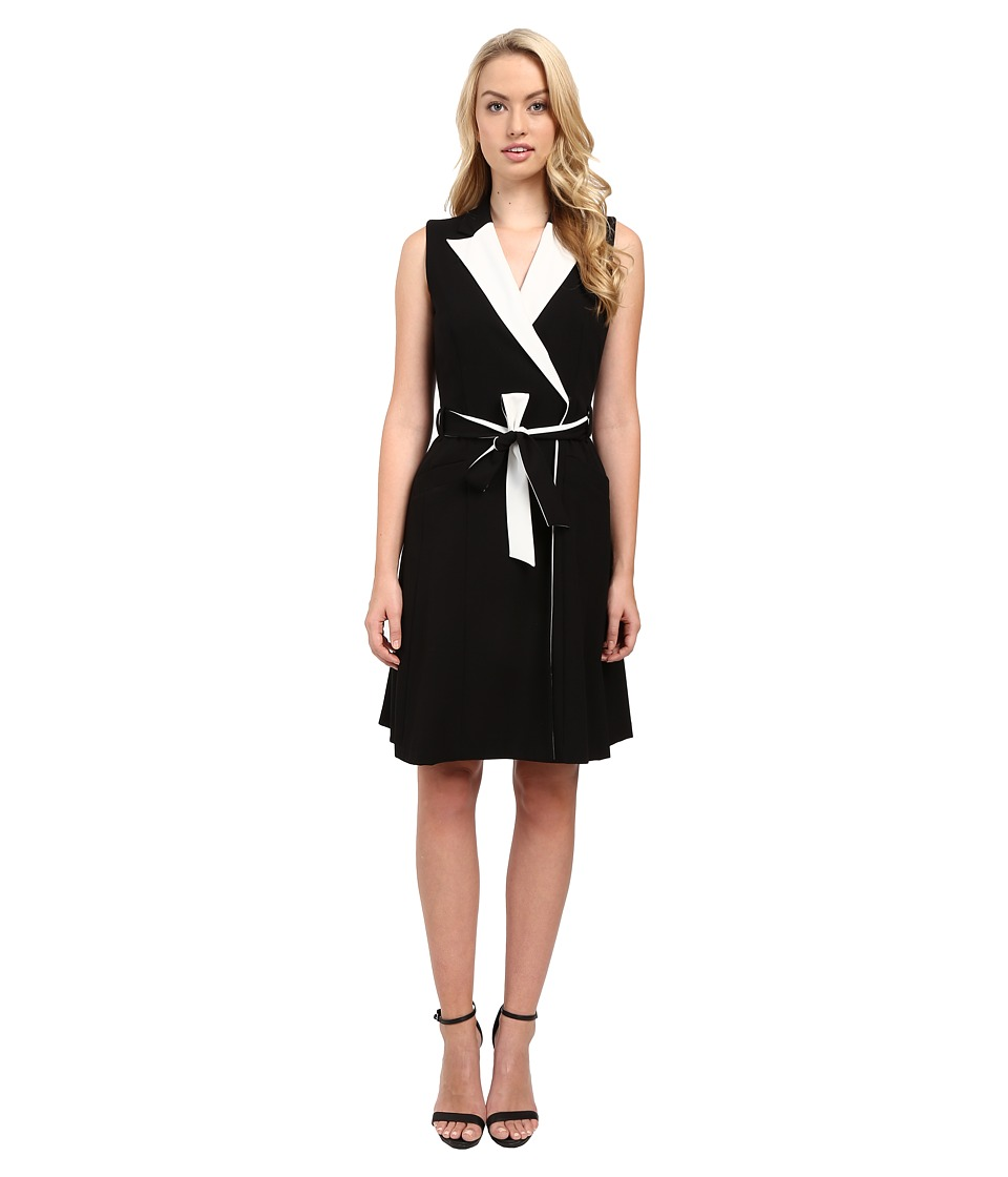 Calvin Klein - Notch Collar Wrap Dress CD5X1095 (Black/Cream) Women's Dress