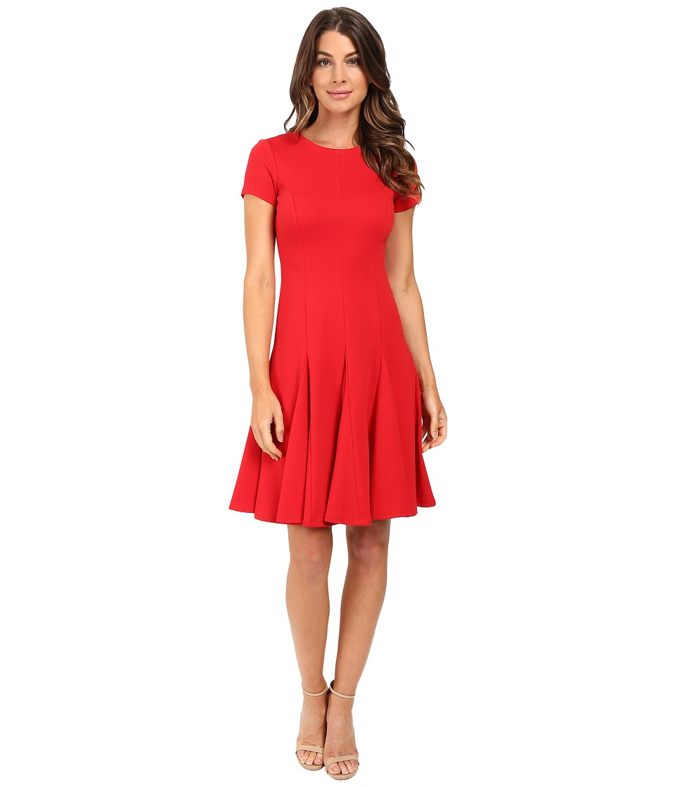 Calvin Klein - Short Sleeve Flared Bottom Dress CD5P1180 (Red) Women's Dress