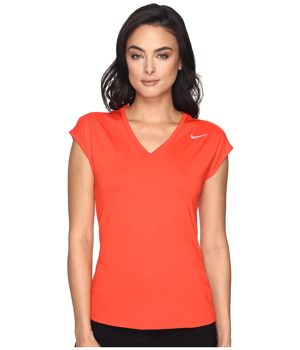 Nike Golf - Greens Top 2.0 (Max Orange/Metallic Silver) Women's Short Sleeve Pullover