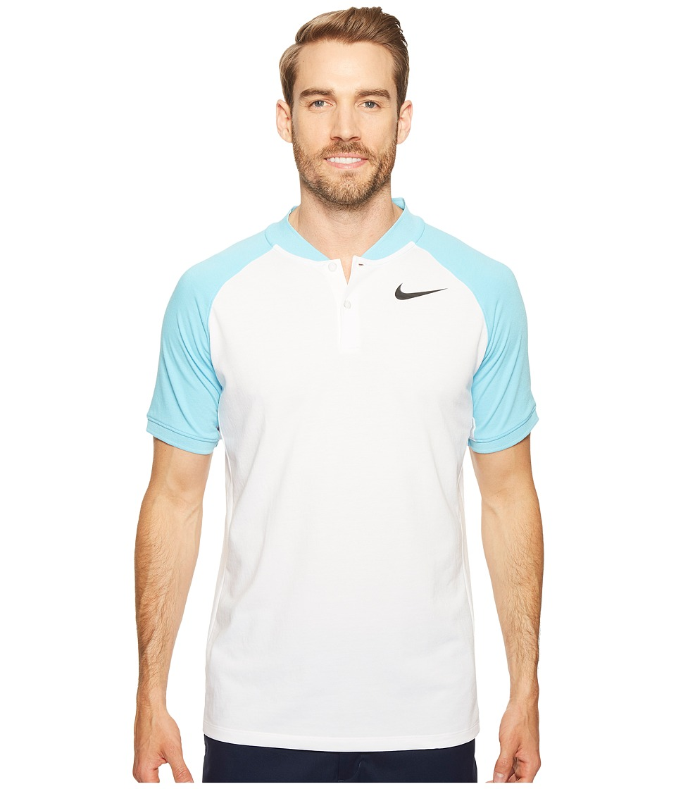Nike Golf - Modern Fit TR Dry Raglan (White/Vivid Sky/Black) Men's Short Sleeve Pullover