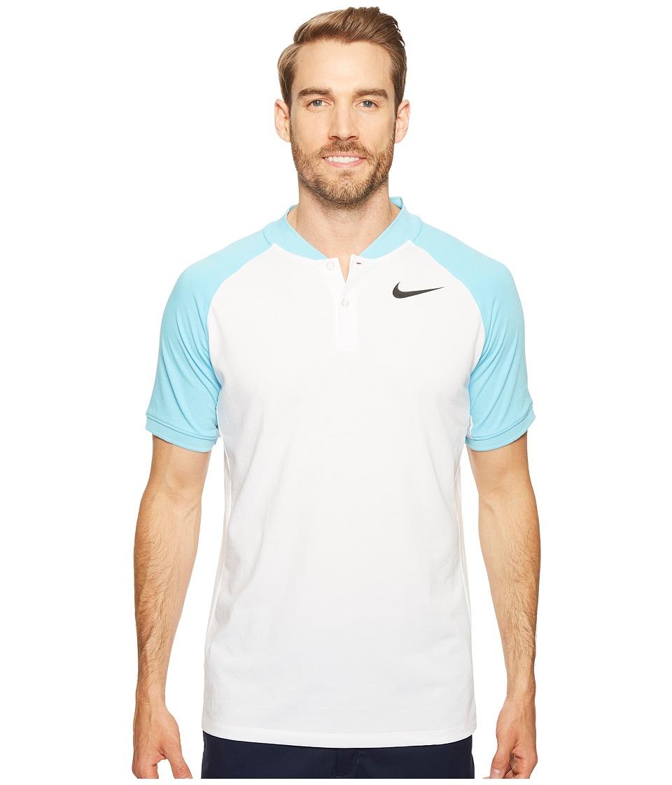 Nike Golf - Modern Fit TR Dry Raglan (White/Vivid Sky/Black) Men's Short Sleeve Pullover