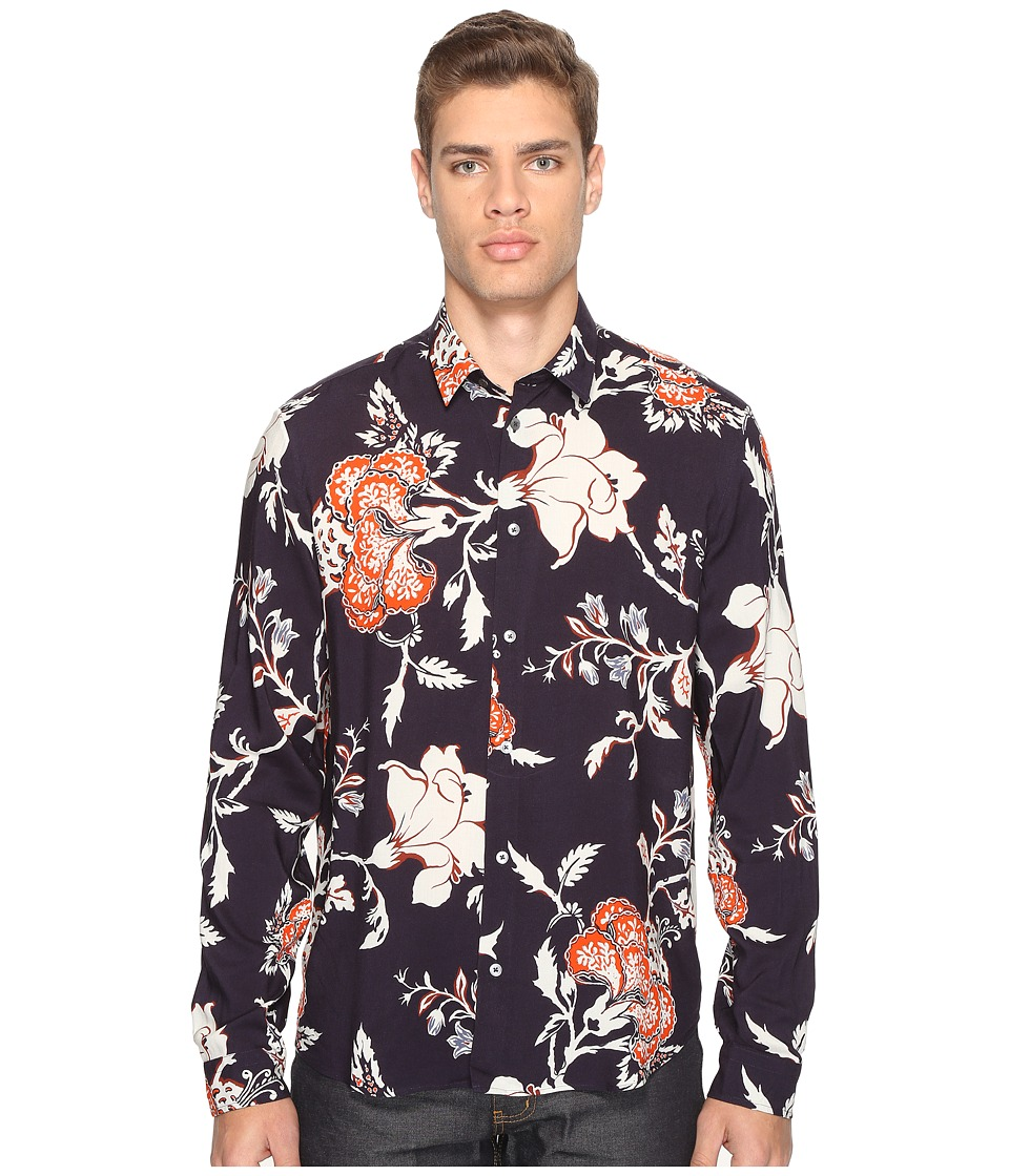 McQ - Sheehan Floral Button Up (Vivid Navy) Men's Clothing