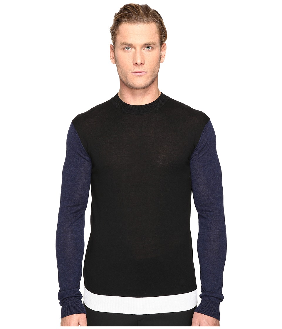 McQ - Color Block Crew Neck Sweater (Black/Ivory/Navy) Men's Sweater