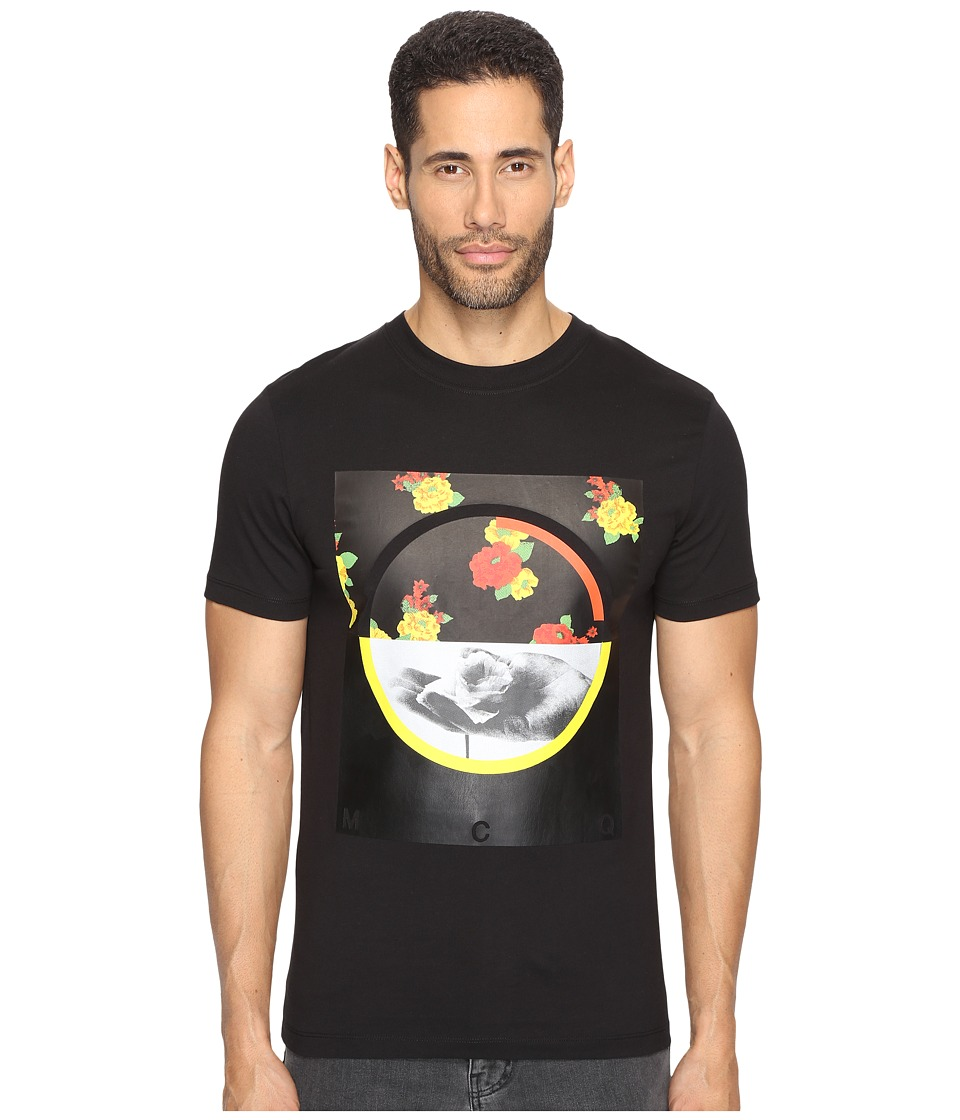 McQ - Graphic Floral Short Sleeve Crew T-Shirt (Darkest Black) Men's T Shirt