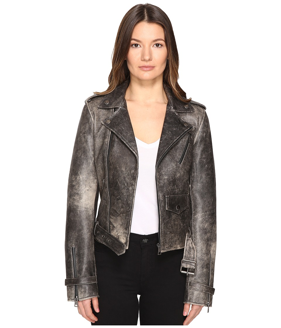 Just Cavalli - Leather Moto Hot Rod Jacket (Black) Women's Coat