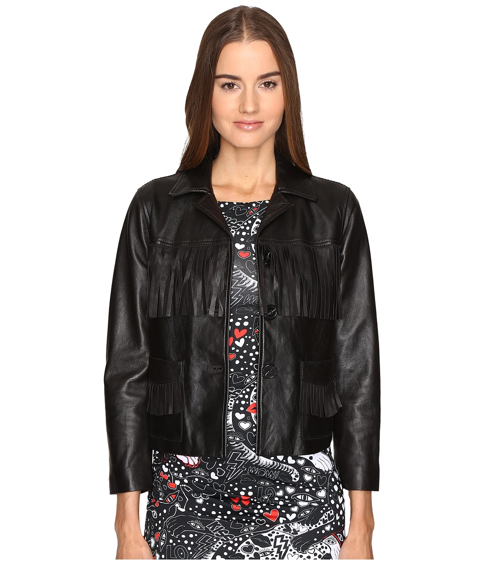 Just Cavalli - Fringe Leather Button Up Jacket (Black) Women's Coat