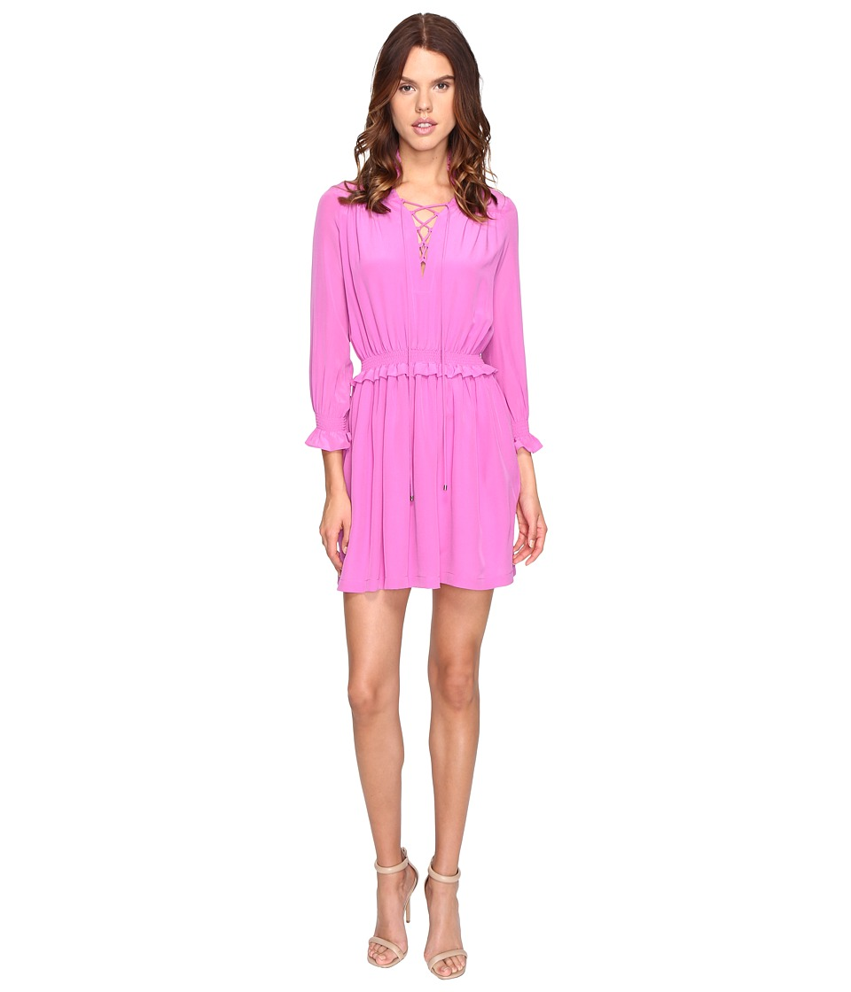 Just Cavalli - Long Sleeve Tie Neck Dress (Pink) Women's Dress