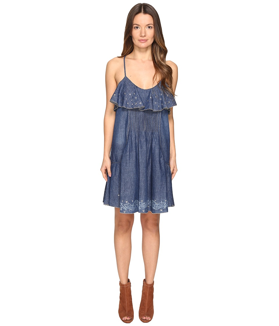Just Cavalli Laser Cami Western Dress (Denim) Women